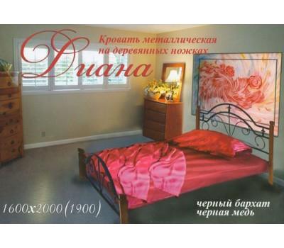 Кровать Диана на деревянных ножках Металл Дизайн