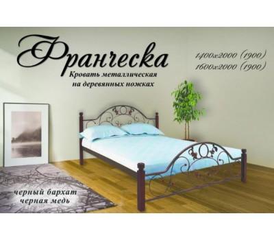 Кровать Франческа на деревянных ножках Металл Дизайн